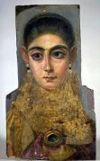 Fayum Funeral Portrait, 98-117 A.D., Encaustic on wood. (That's old! Older than any oil paintings on wood in existence I know of...)