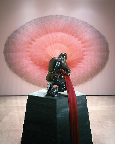 DO HO SUH Paratrooper-I , 2003 linen, polyester thread, cast stainless steel, cast concrete, plastic beads 122 x 153 x 254 inches