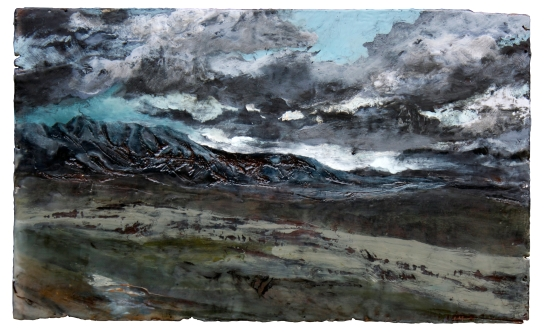 """Galbraith, 2013, Encaustic and Oil on Found Wood, 16"""" x 26"""", Vincent Colvin"""