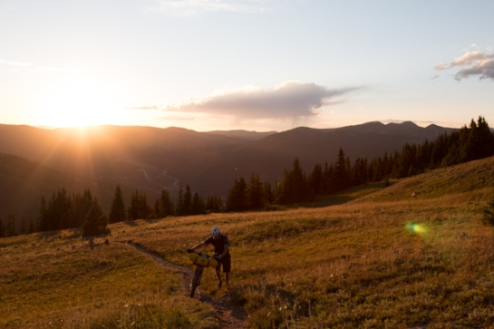 Pushing up the Ten Mile range at sunset after hiking with my bike up to 12000'.