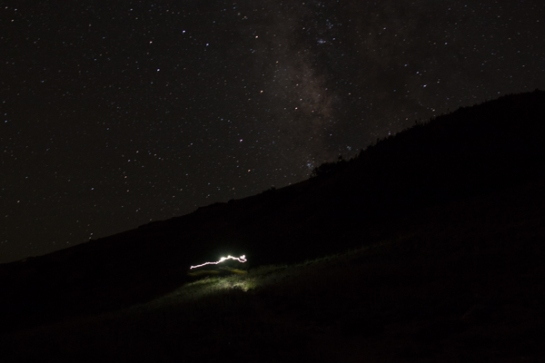 At the peak at 9:00 PM, the Milky Way is arching right above us.