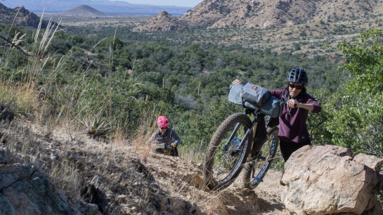 Challenging hike-a-bike up and over the Cochise Stronghold.
