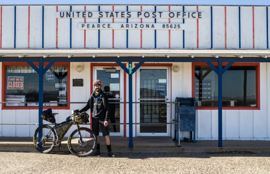 Thanks to Postmaster Bill for the photo, he's got one heck of a view. I rode back into town to fix a flat. Luckily the small town hardware store had flat kits, since mine was resting nicely back in the truck...